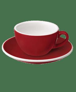 """כוס קפוצ׳ינו וצלוחית 200 מ""""ל Loveramics צבע אדום"""