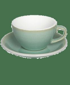 """כוס קפוצ׳ינו וצלוחית 200 מ""""ל Loveramics צבע ירקרק גרניט"""