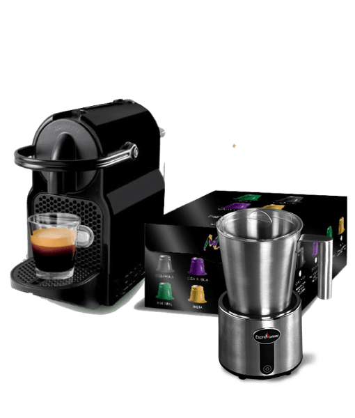 מבצע מכונת קפה איניסייה+ מקציף נירוסטה אספרסו מור + 100 קפסולות מתנה